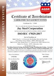 Jay Steel corporation ISO 17025